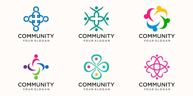 Creative colorful people community icon logo design template. team of four people together icon isolated