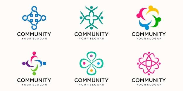 創造的なカラフルな人々のコミュニティアイコンロゴデザインテンプレート。一緒に4人のチームアイコン分離