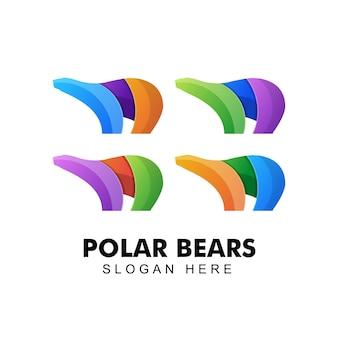 Креативный красочный логотип белых медведей