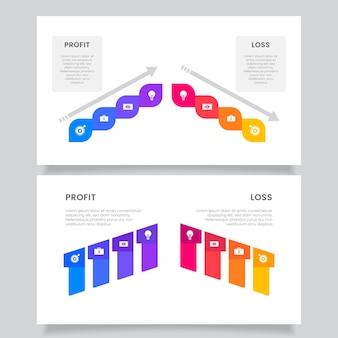 창의적인 다채로운 손익 인포 그래픽