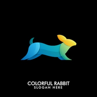 創造的なカラフルな実行ウサギのロゴ