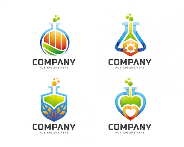 Creative colorful science lab logo