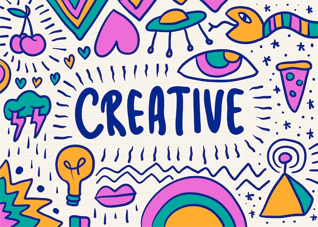 Creative and colorful scribble graphic