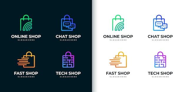 Креативная красочная коллекция логотипов для покупок в стиле арт-линии