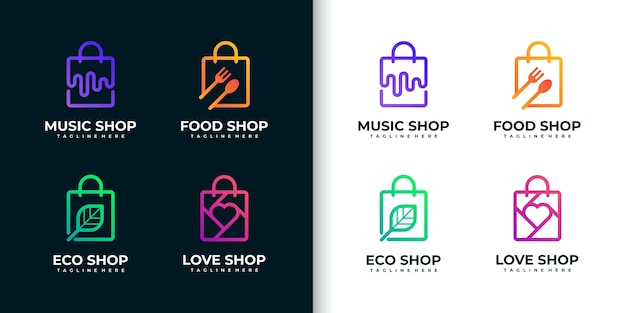 Creative colorful shopping logo collection, with line art style