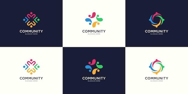 Creative colorful social group logo set