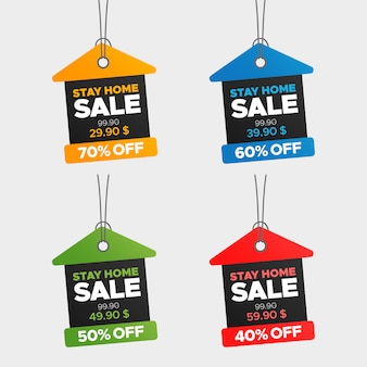 Creative colorful stay at home sale and price tags set