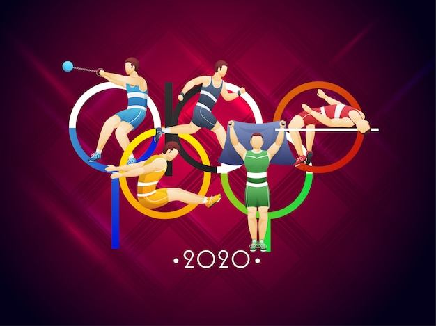 Creative colorful tokyo text with different activity sportsmen or athletics on tartan pattern background.