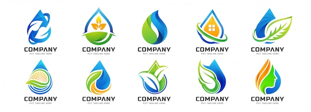 Creative colorful water drop logo template collection