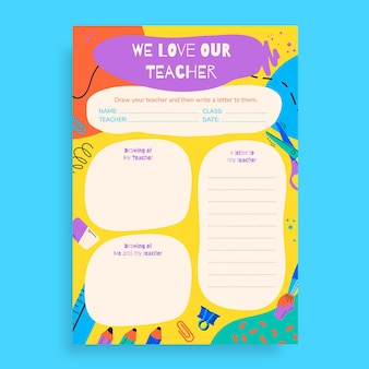 Creative colorful we love our teacher worksheet