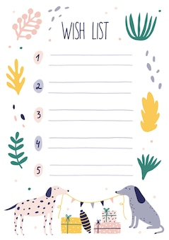 Creative colorful wish list template with dogs holding festive garland, gifts and plants