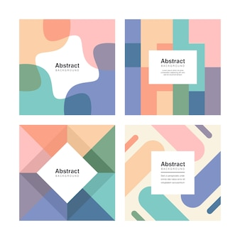 Creative colourful social media square post, dynamic shapes abstract background set