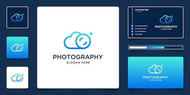 Creative combination of clouds and photo frames logo design for photography with business cards
