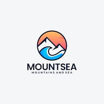 창조적 인 조합 산과 바다 로고 디자인 아이디어
