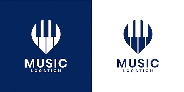 Creative combination of piano and pin location logo