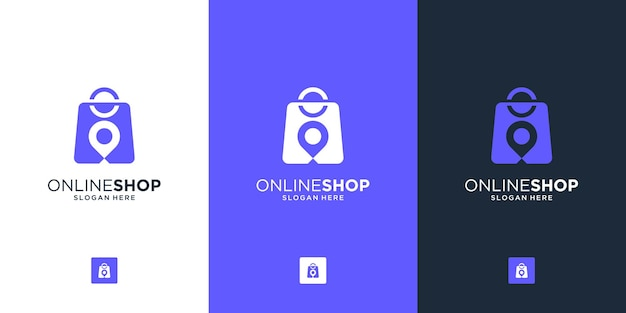 Creative combine bag and pin location for online shop logo design