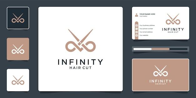 Creative combine infinity and scissor logo design with business card