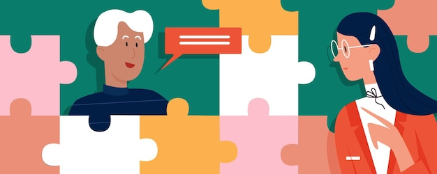 Creative communication concept with business people puzzle pieces message bubble