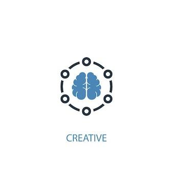 크리에이 티브 개념 2 컬러 아이콘입니다. 간단한 파란색 요소 그림입니다. 크리에이 티브 개념 기호 디자인입니다. 웹 및 모바일 ui/ux에 사용할 수 있습니다.