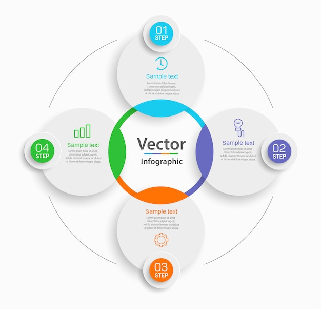 Креативная концепция для инфографической схемы с 4 шагами
