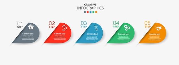 단계가있는 인포 그래픽 다이어그램에 대한 창의적인 개념