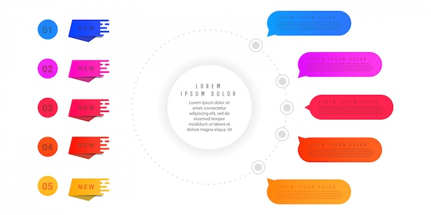 Creative concept of gradient graph elements, diagrams with steps, options, parts or processes.