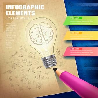 전구 및 연필 요소와 창의적인 개념 infographic