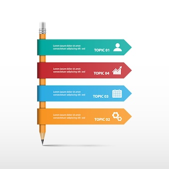 Creative concept for infographic with pencil Premium Vector