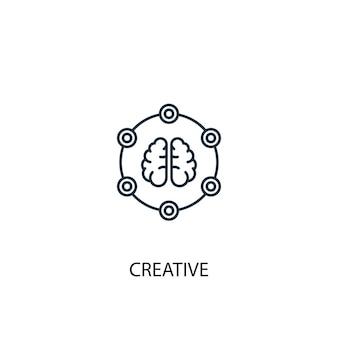 크리에이 티브 개념 라인 아이콘입니다. 간단한 요소 그림입니다. 크리에이 티브 개념 개요 기호 디자인입니다. 웹 및 모바일 ui/ux에 사용할 수 있습니다.