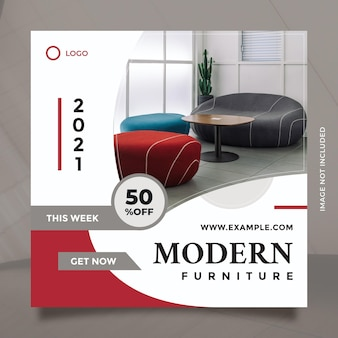 Creative concept and minimalist modern furniture promotion design for social media post and banner