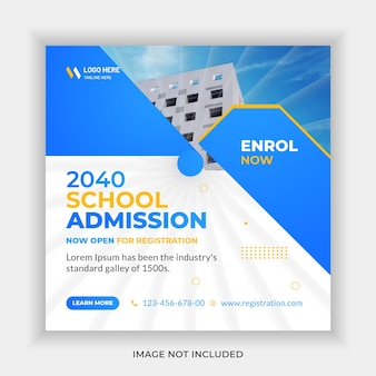 Creative concept school admission education social media banner template