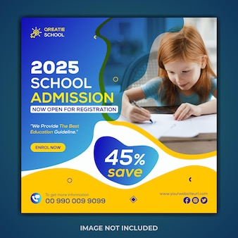 Creative concept school admission instagram post and web banner templatee