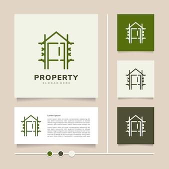 부동산 주거 임대 투자 등을 위한 크리에이 티브 개념 벡터 하우스 라인 로고 디자인
