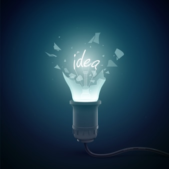 Creative conceptual template with bursting electric lamp with filament word idea on dark illustration