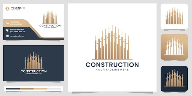 Creative construction logo design logo for business buildingreal estate gold home modern logo vector template with business card premium vector