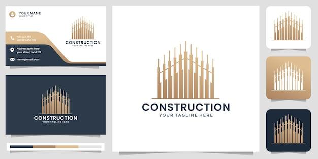 비즈니스 건물에 대한 크리에이 티브 건설 로고 디자인 로고 부동산 골드 홈 현대 로고 벡터 템플릿 명함 프리미엄 벡터