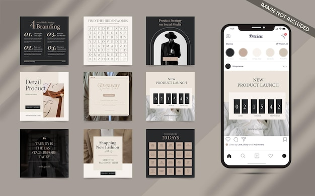 Creative content creator minimalist seamless for social media post carousel set of instagram puzzle square fashion sale banner promotion template