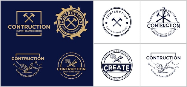 Creative contruction logo design template