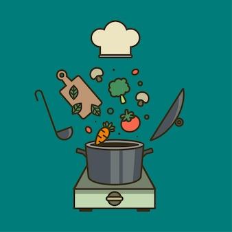 クリエイティブクッキングコレクションクックブックフライングキッチンツールと新鮮な野菜のベクトル図