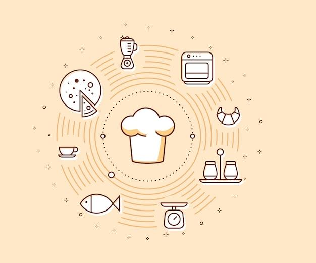 Креативная кулинарная концепция на светлом фоне иллюстрации шляпы шеф-повара с иконами еды
