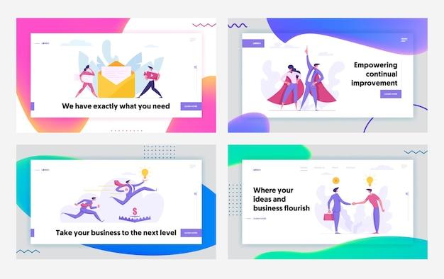 クリエイティブな協力プログレッシブビジネスサクセスコンセプトランディングページ