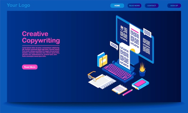 Creative copywriting landing page vector template