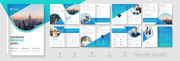 Creative corporate 16 page brochure design for multipurpose business proposal and annual report