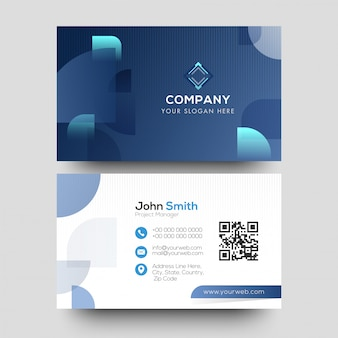 Creative corporate business card design in blue and white color.