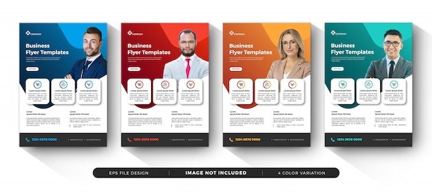 Creative corporate business flyer templates variation color