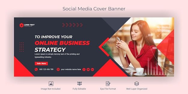 Creative corporate business social media facebook cover banner template