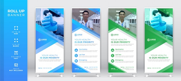 Creative corporate medical roll up set, standee banner template, x stand