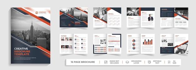 크리에이 티브 기업 현대 16 페이지 다목적 비즈니스 브로셔 및 빨간색과 검은 색 모양의 회사 프로필 템플릿