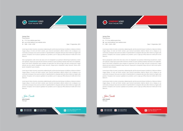 Creative corporate modern letterhead design template