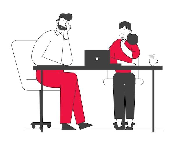 Творческая пара коллег работа в команде, мозговой штурм рабочего процесса в офисе